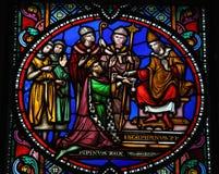 Pepin il più giovane ed il papa Stephen II Fotografia Stock Libera da Diritti