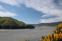 Pepin island. (Cable bay, near Nelson) can only be reached during low tide stock photo