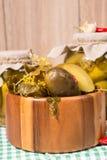 Pepinillos conservados en vinagre en los tarros de cristal Imágenes de archivo libres de regalías