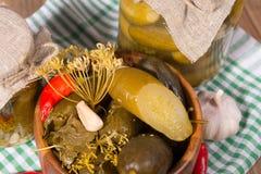 Pepinillos conservados en vinagre en los tarros de cristal Imagen de archivo