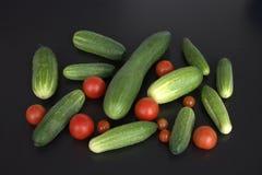 Pepinillos verdes y tomates rojos en un fondo negro Fotos de archivo libres de regalías