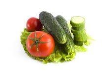 Pepino com tomates em um fundo branco Vegetais em um fundo branco Vegetais coloridos frescos em um backgroun branco Foto de Stock Royalty Free