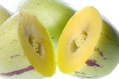 Pepino Dulce (Melone-Birnen) getrennt Stockfotos