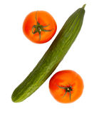 Pepino e tomates Imagens de Stock Royalty Free
