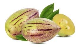 Pepino melonfrukt som isoleras på vit bakgrund arkivfoto