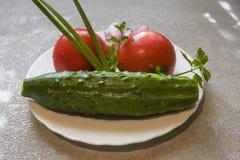 Pepino, tomate e cebola frescos em uma placa Foto de Stock