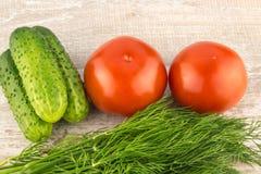 Pepino, tomate, pimenta e erva-doce em um fim de madeira branco do fundo acima imagens de stock royalty free