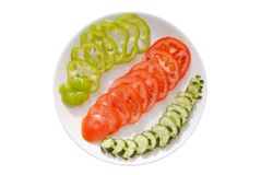 Pepino, tomate, pimienta dulce Foto de archivo libre de regalías