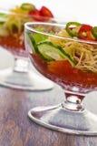 Pepino, tomate, queijo e romã do vegetal de salada Fotografia de Stock