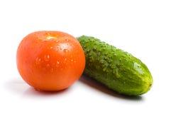 Pepino y tomate en un fondo blanco Fotos de archivo libres de regalías