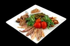 Pepinos com tomates e carne dos cogumelos Foto de Stock
