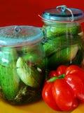Pepinos conservados en vinagre Foto de archivo libre de regalías