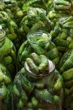Pepinos de la preservación en botellas Imagenes de archivo