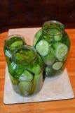 Pepinos del stilllife de las verduras que conservan la cosecha Foto de archivo