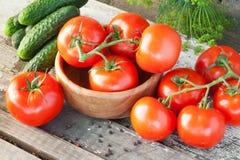 Pepinos e tomates Imagem de Stock