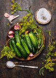 Pepinos, ervas e especiarias para conservar no fundo de madeira rústico Foto de Stock Royalty Free