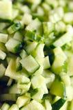Pepinos finamente cortados para a salada Imagem de Stock Royalty Free