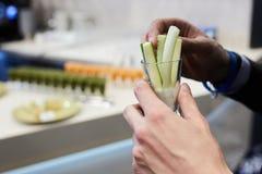 Pepinos finos em uma mão Fotos de Stock Royalty Free