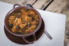 Pepinos salados de la sopa rusa tradicional de la carne Imagen de archivo