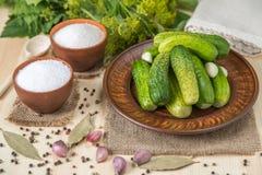 Pepinos salados en un cuenco e ingredientes en la tabla de tableros del pino Fotos de archivo libres de regalías