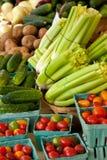 Pepinos, tomates de cereja e aipo Fotos de Stock