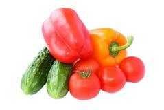 Pepinos, tomates e ascendente próximo da paprika Fotografia de Stock Royalty Free
