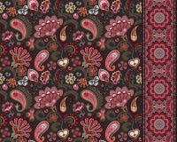 Pepinos turcos Adorno oriental Ornamento y frontera inconsútiles para las telas, papel pintado, fondo Ilustración del vector Imagenes de archivo