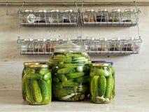 Pepinos verdes conservados en vinagre Fotos de archivo libres de regalías