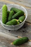 Pepinos verdes frescos em uma cesta bonita Fotos de Stock Royalty Free