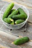 Pepinos verdes frescos em uma cesta bonita Fotos de Stock