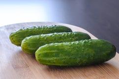 Pepinos verdes, vegetais da mola Fotos de Stock
