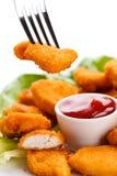 Pepitas de galinha fritada Imagens de Stock Royalty Free