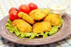 Pepitas de galinha fritada Fotografia de Stock Royalty Free