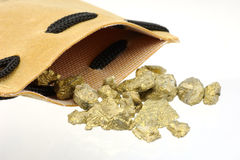 Pepitas de oro Imágenes de archivo libres de regalías