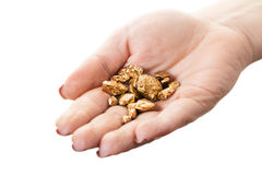 Pepitas de oro disponibles fotografía de archivo libre de regalías