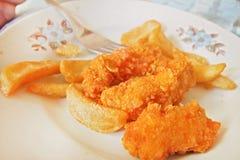 Pepitas de pollo curruscantes con las patatas fritas Imagen de archivo libre de regalías