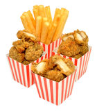 Pepitas y fritadas de pollo Imagen de archivo libre de regalías