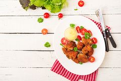 Pepitas y salsa de pollo en placa Imagen de archivo libre de regalías