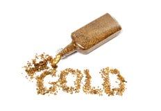 Pepite di oro che ortografano oro Fotografia Stock Libera da Diritti