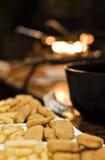Pepite di pollo e patate fritte Fotografia Stock Libera da Diritti