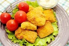 Pepite di pollo fritto Fotografie Stock Libere da Diritti