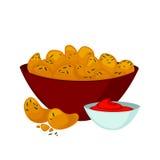 Pepite di pollo fritto con salsa illustrazione vettoriale