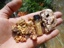 Pepite, esemplare e fiocchi di oro Immagini Stock Libere da Diritti