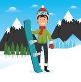 Pepople спорт зимы с сноубордом и лыжами иллюстрация штока