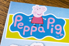 Peppa Pig Symbol. LONDON, UK - JANUARY 13TH 2017: The logo for the Peppa Pig show featured on a leaflet for the Peppa Pig World Amusement Park, on 13th January royalty free stock photo