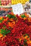 Peppar caliente vendida en el mercado Imagen de archivo libre de regalías