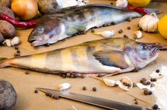 Peppar för citron för Grinling fiskgrönsaker Arkivfoto