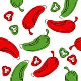 Peppar för grön och röd chili för sömlös modell Peppar för handteckningschili Peppar för vektorillustrationchili stock illustrationer