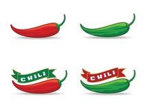 Peppar för röd chili & gräsplanchilipeppar Arkivfoto