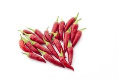 Peppar för röd chili i ett hjärtabildande Fotografering för Bildbyråer